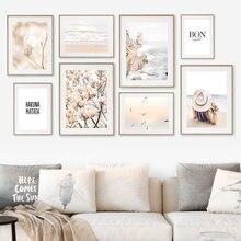 Praia ondas begonia flores mulher primavera arte da parede pintura em tela nordic cartazes e impressões fotos de parede para sala estar decoração
