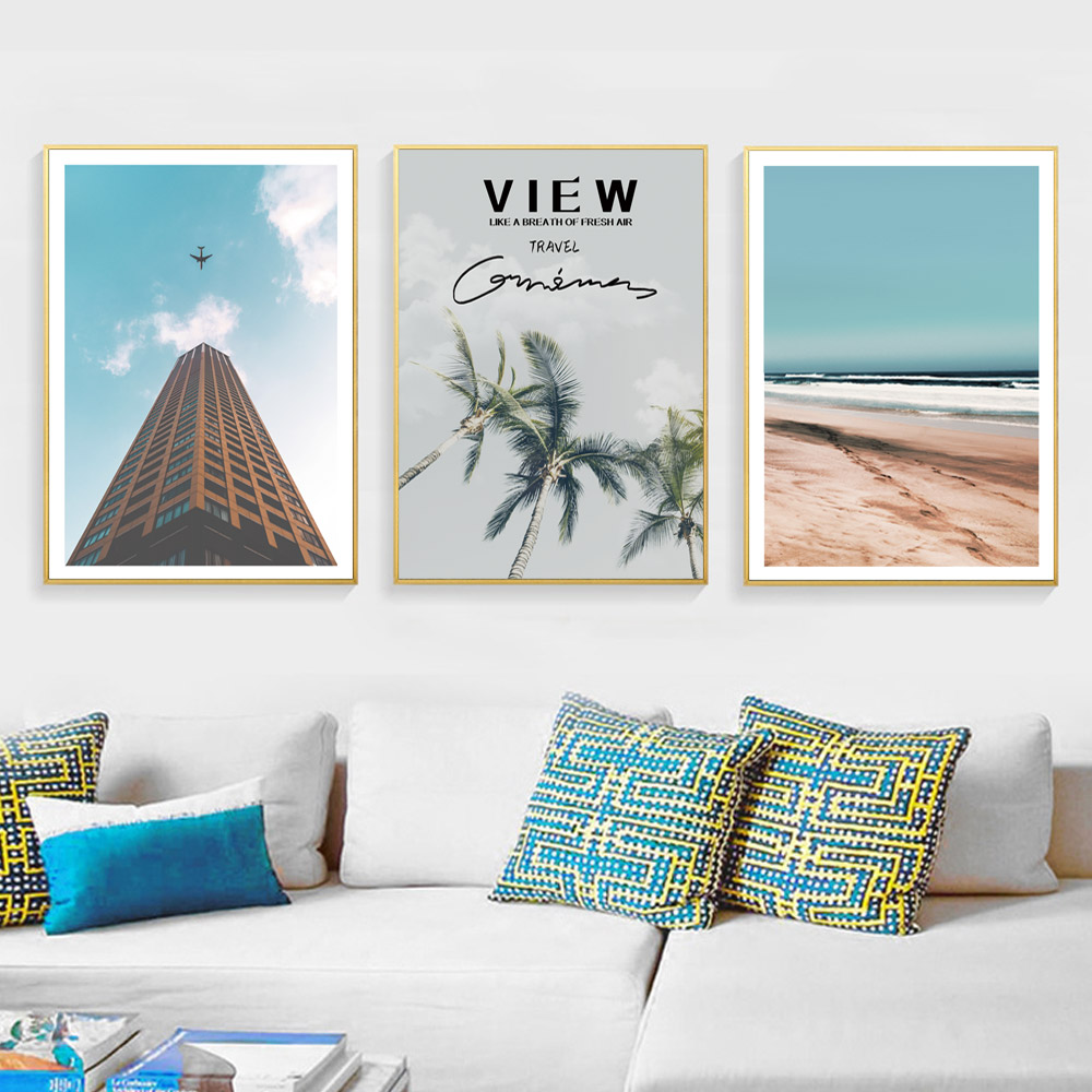 Scandinavian Poster Beach Wall Art Canvas Painting Landscape Coconut Tree Print Ocean Home Decor Unframed