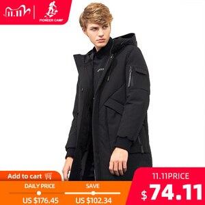 Image 1 - Пионерский лагерь водонепроницаемый материал толстый пуховик зимняя куртка брендовая мужская одежда мода с капюшоном теплая утка пуховик мужской AYR705314