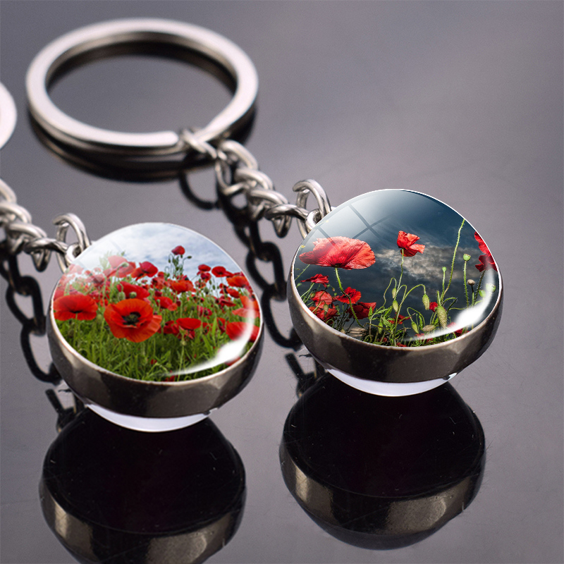 Flower Key Chain Poppy Flowers Key Ring Double Side Glass Ball Keychain Pendant Keyring