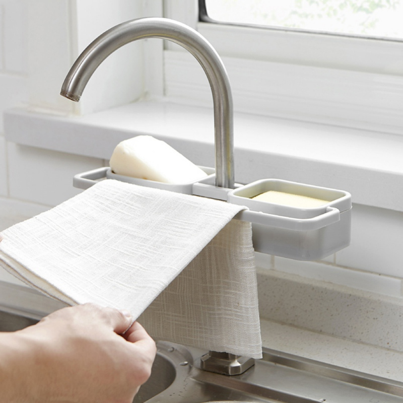 Faucet Sink Shelf Soap Sponge Drain Rack Bathroom Holder Kitchen Storage Suction Cup Kitchen Organizer Sink kitchen Accessories