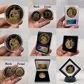 Schöne WOW Gold Überzogene Dogecoin Gedenkmünzen Niedlichen Hund Muster Hund Souvenir Sammlung Geschenke