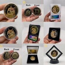 Bonito wow ouro chapeado dogecoin moedas comemorativas bonito cão padrão lembrança coleção presentes