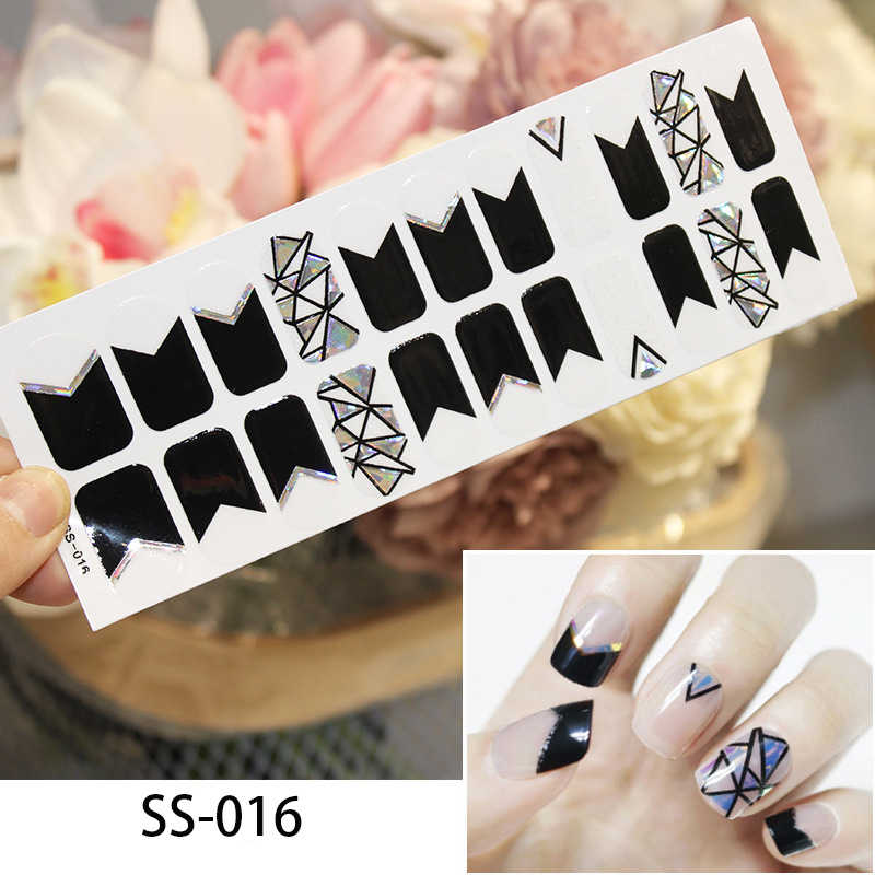 22tips/sheet Nail Art Full Cover Self Adhesive Stickers Polish Foil Transfer Tips Wraps 3D Waterproof Nail Stickers  Manicure