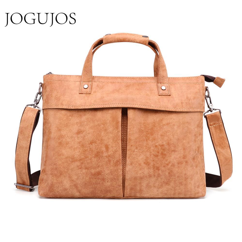 JOGUJOS Genuine Leather Men Briefcase Business 15.6