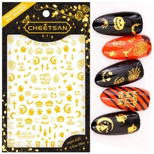 Newest TSC-140 Halloween 3d nail art sticker decal stamping export japan designs rhinestones  decorations