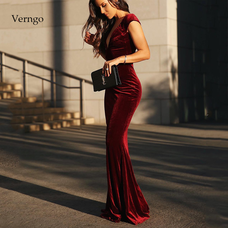 Verngo Mermaid Evening Gown Red Evening Dress Vintage Formal Dress Long Prom Dress Velour Party Gowns Robe De Soiree