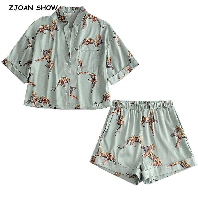 Pijama camisero corto de satén con estampado de leopardo y animales, conjunto de 2 piezas, pantalón corto ancho con pierna Cintura elástica ancha, Blusa de manga corta para mujer