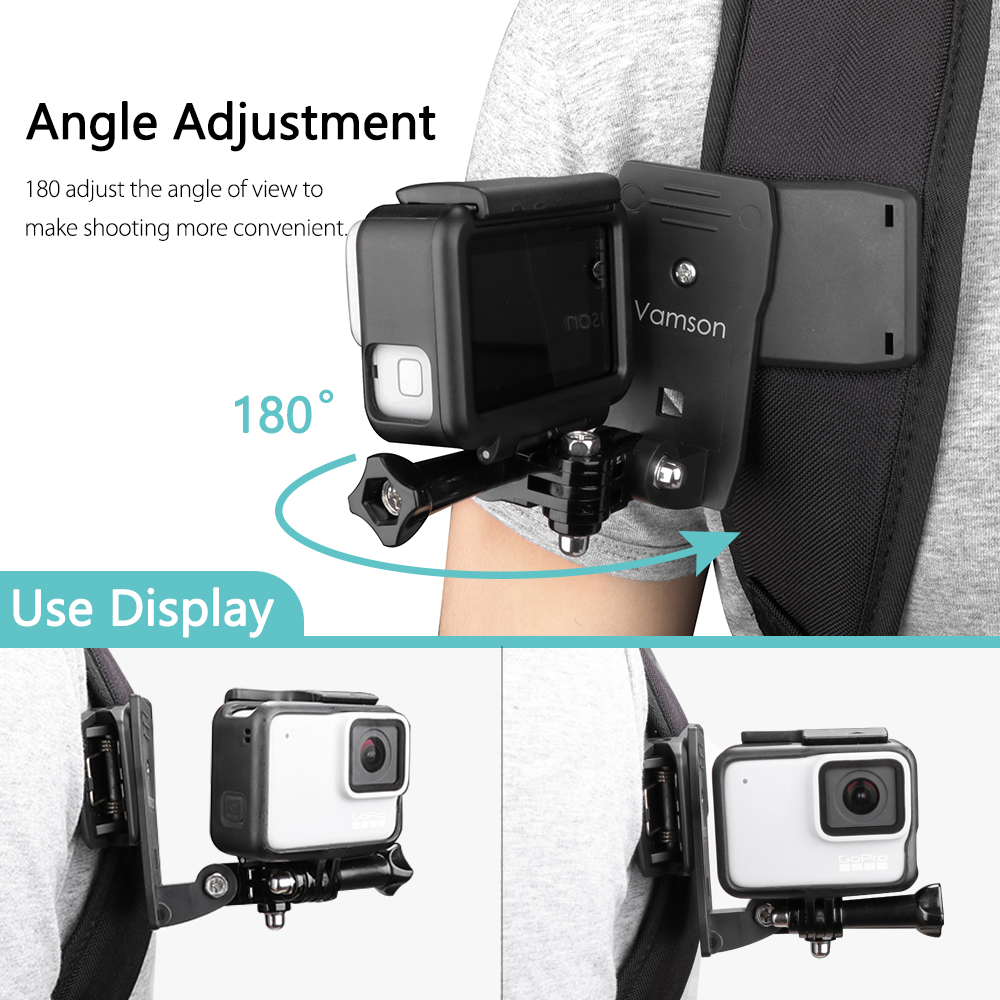 Image 4 - Vamson for Go Pro Accessories 360 Degree Rotation Clip For GoPro Hero 7 6 5 4 3+ 3 2 1 for Xiaomi yi for SJCAM for SJ4000 VP512-in Sports Camcorder Cases from Consumer Electronics