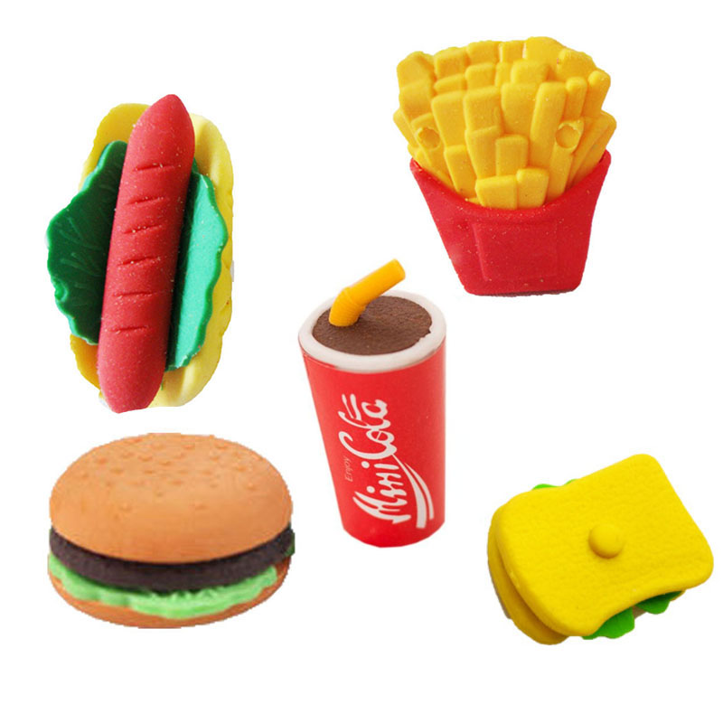 Wholesale Cute Kawaii Hamburger Sandwich Food Fries Coke Hot Dog Eraser Set Stationery School Office Rubber Supplies Kids Gift