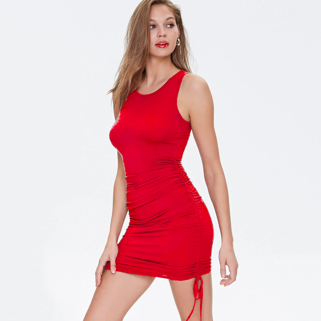 Ladies ribbed drawstring dress bodycon round neck short-sleeve sexy T-shirt dresses WL88 7