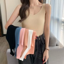 Women's Tank Tops Knitted Ribbed Sleeveless 2021 Summer New Sexy V-Neck Basic Casual Female Tanks Solid Slim Streetwear Lady Top