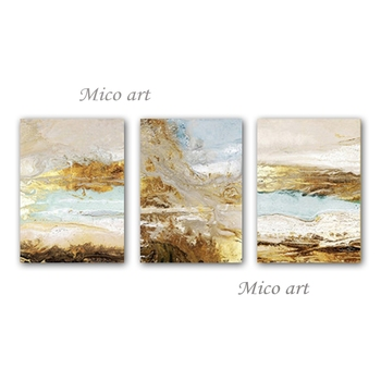 3 Panels Canvas Wall Art Abstract Pure Hand-painted Oil Painting Group Wall Hangs Canvas Artwork For Living Room Home Decoration