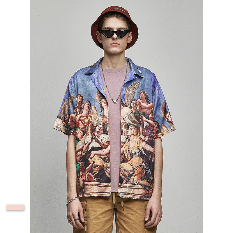 Men's Shirt Men's Character Printing Loose Shirt Men's Short-Sleeved Shirt Printed Shirt