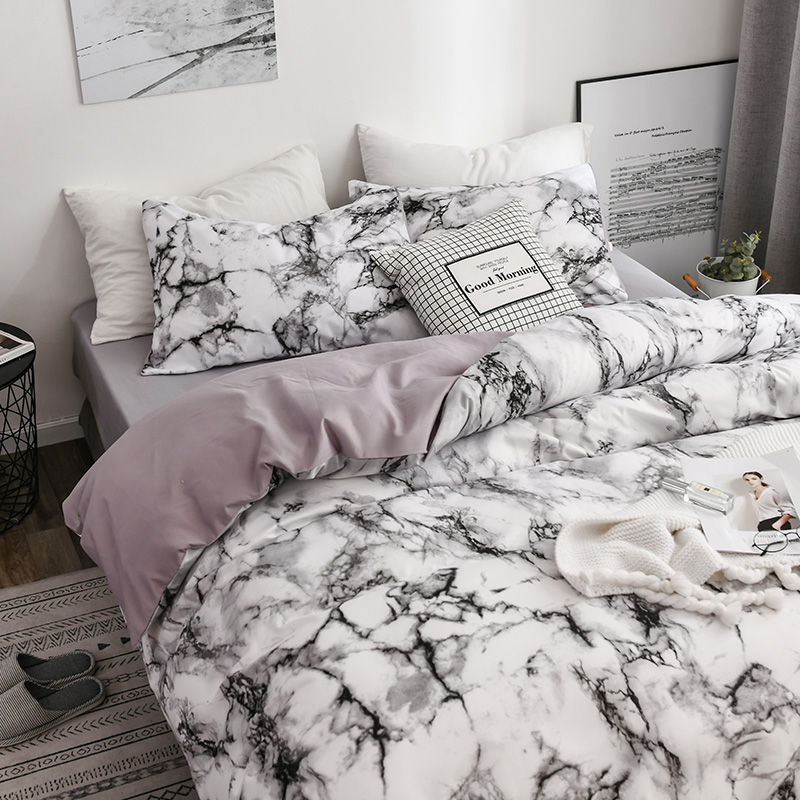 Printed Marble Bedding Set White Black Duvet Cover King Queen Size Quilt Cover Brief Bedclothes Comforter Cover 3Pcs