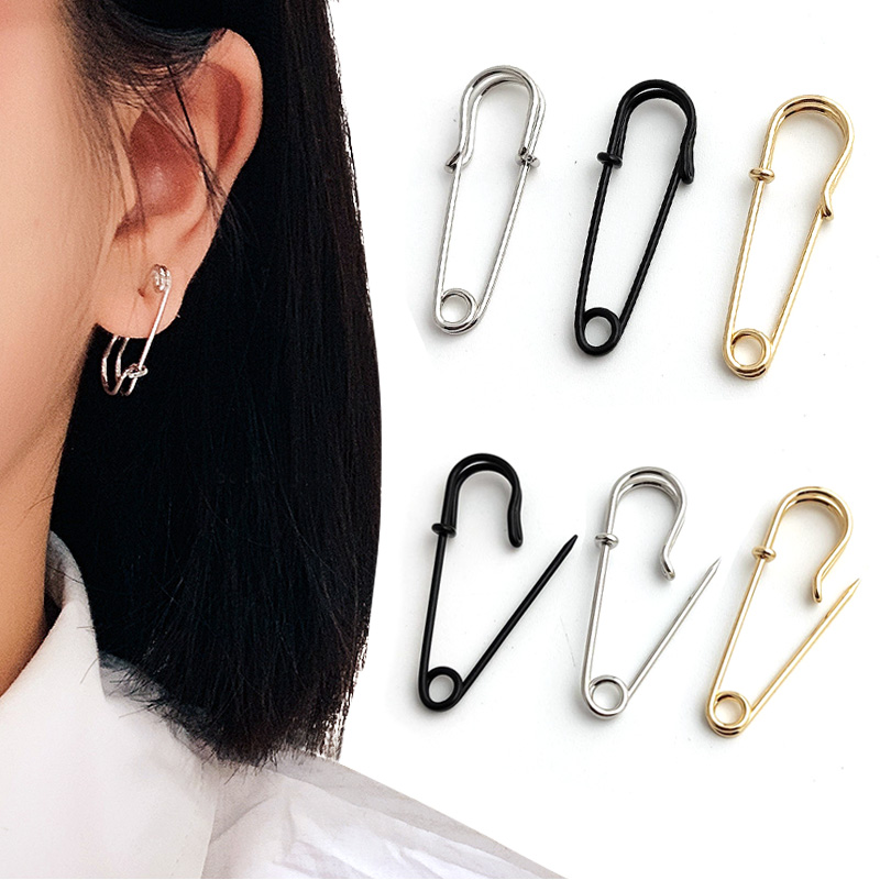 Trendy Unisex Punk Rock Style Safety Pin Ear Hook Stud Earrings Exquisite Jewelry Gift for Women Men Pakistan