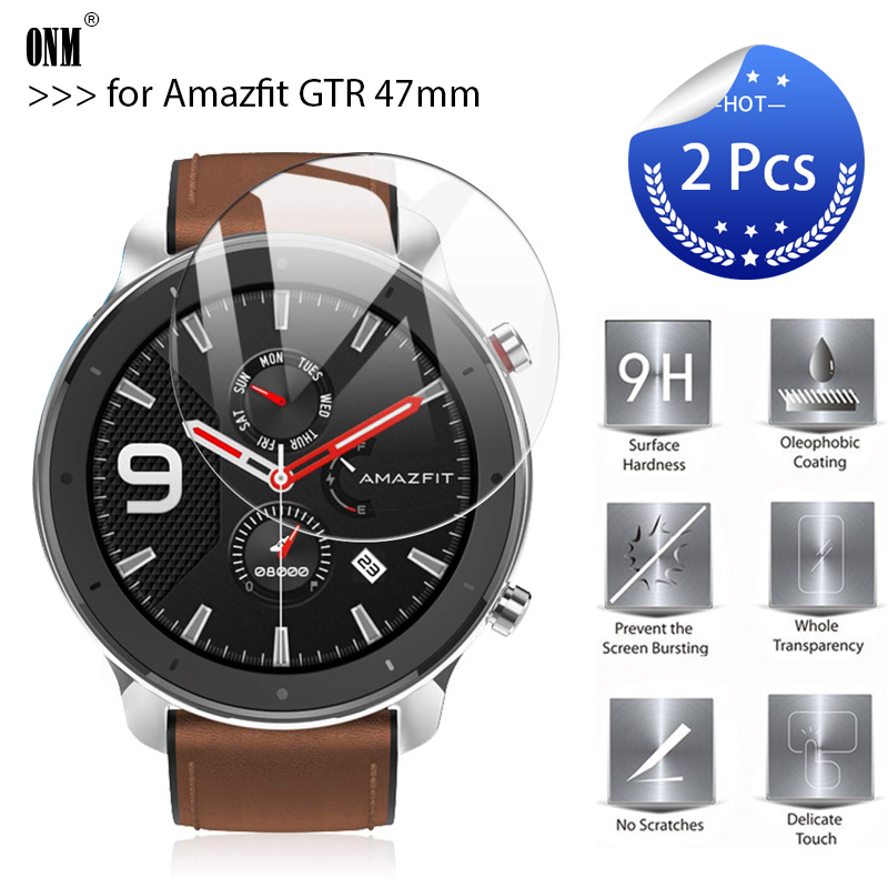 2Pcs/Lot 9H Premium Explosion-Proof Tempered Glass For AMAZFIT GTR Smart Watch 47mm Screen Protector Film