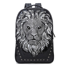 Fashion Creative Backpack Men Casual Rivet 3D Pattern Computer Backpack Travel Large Capacity Backpack Student Bag School Bag the student travel book wrapping retro computer bag backpack men s casual backpack crazy horse