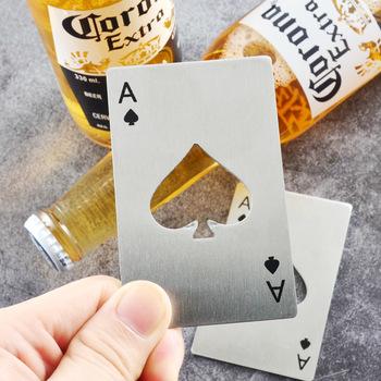 Przenośne ze stali nierdzewnej Spade otwieracz do butelek karty w kształcie pokera do piwa butelka otwieracz do rzucania i cięcia tanie i dobre opinie 14 lat Inne buławy Normalne bottle opener Nieograniczona 0-30 minut Podstawowym Stop