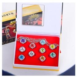10 pçs anime japonês naruto anéis conjunto akatsuki itachi dor orojimaru cosplay masculino anel de jóias acessórios festa