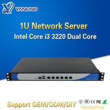 Intel i3 3220 듀얼 코어 6 Lan Pfsense 소프트 라우터 지원 2 GBE 광 포트가있는 Yanling 1U 네트워크 서버 방화벽 기기