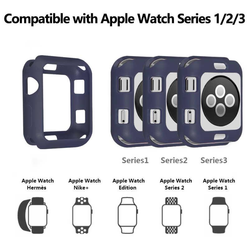 רך סיליקון עבור אפל שעון סדרת 4 3 2 מקרה עבור Iwatch צבעים בוהקים TPU כיסוי Slim Fit מגן Ultra- דק להקת 38mm Not40mm
