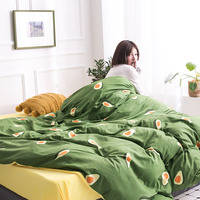 Modern Style AB Pure Cotton Crystal Velvet 4pcs Duvet Cover Bed Sheet Pillowcases Avocado Strawberry Tulips Leaves Queen King