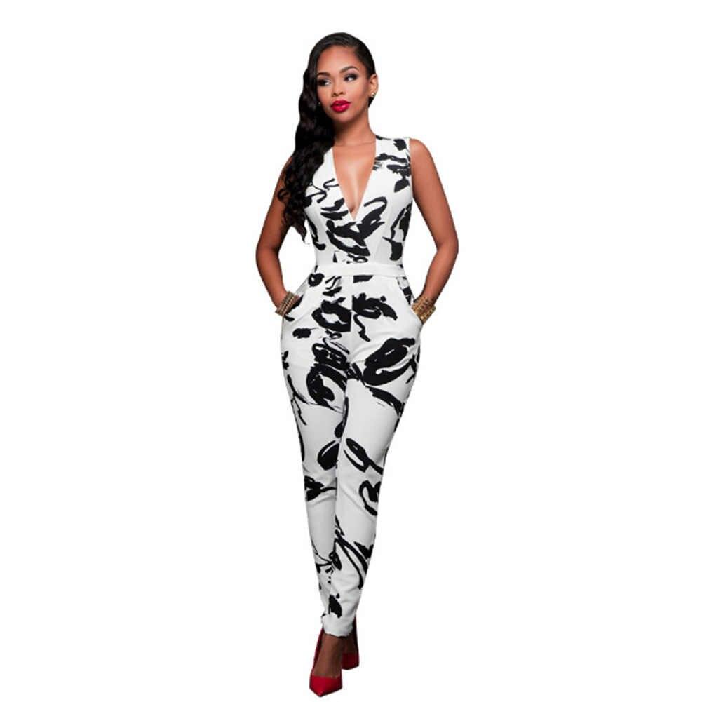 ホット販売ファッションの女性の夏セクシーなプリントクラブウェア V ネック遊び着ボディコンパーティーズボンジャンプスーツロンパース
