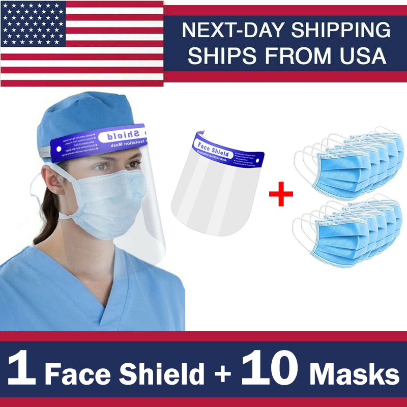 Safety Full Plastic Face Sheild And Facemasks Faceshield Clear Protector Anti-Splash Work Industry Facial Cover Ship From USA
