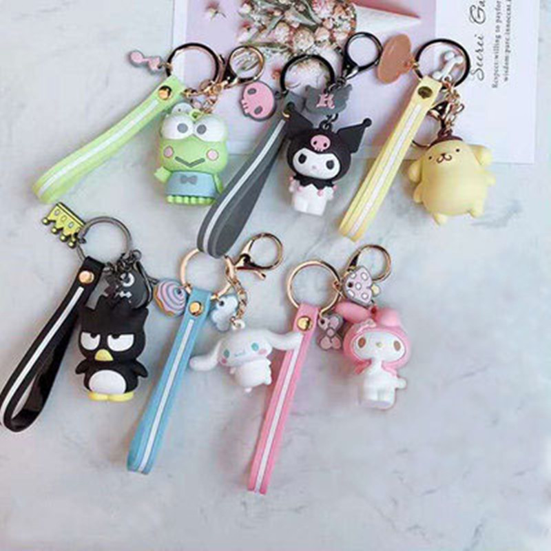 Kuromi Keychain Woman Key Chain Pom Pom Purin Cinnamoroll Bad Badtz Maru Cute Cartoon Novelty High Quality PVC Pendant Jewelry(China)