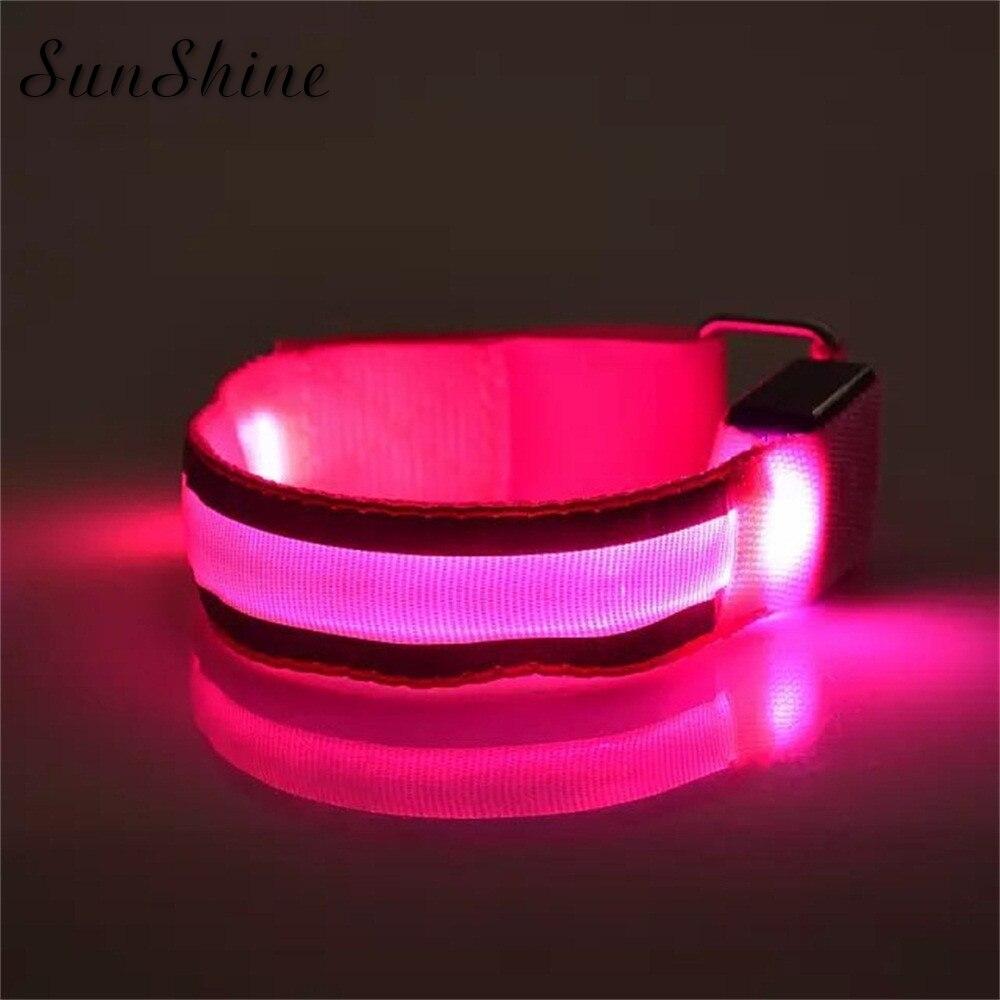 Pulseira de led reflexiva para braço, bracelete de segurança para corrida noturna, ciclismo, pulseira de mão, vermelha, drop shipping