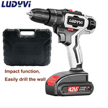 New 42Vf Impact Cordless Drill 2-Speed Electric Drill Mini Electric Screwdriver Wireless Power Driver DC Lithium-Ion Battery electric drill screwdriver diold эш 0 56 2 power 560 w 2 speed reverse