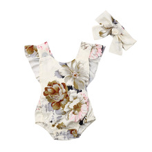 Infant Newborn Baby Girls Romper Summer Baby Clothes Flower Print Jumpsuit Playsuit Sunsuit Baby Girl Costumes newborn photography props baby lace romper with ribbon princess costumes set infant girls clothes yjs dropship