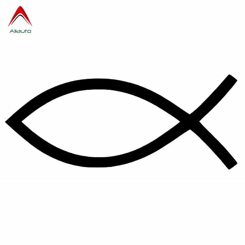 Aliauto Persoonlijkheid Creatieve Auto Sticker Jesus Fish Vinyl Anti-Uv Decal Decoratie Motorfiets Accessoires Zwart/Zilver, 15 Cm * 6 Cm
