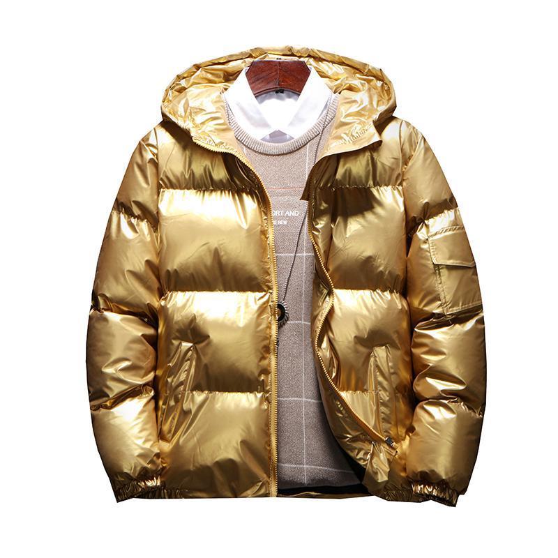 Men's Streetwear Oversize Bright Gold Silver Parkas Men Thicken Warm Winter Jackets Coat Male 2019 Windbreaker Parka Men Clothes