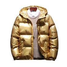 Men's Streetwear Oversize Bright Gold Silver Parkas Men Thicken Warm Winter Jack