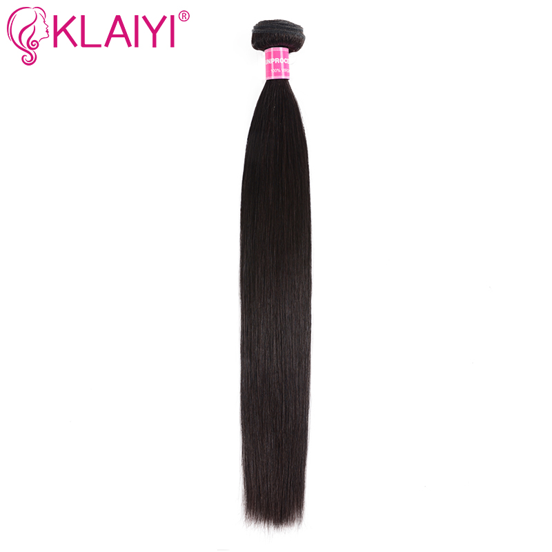 Klaiyi Hair Extensions Brazilian Hair Weave Bundles Human Straight Hair Bundles Natural Black Weave Remy Hair One Piece