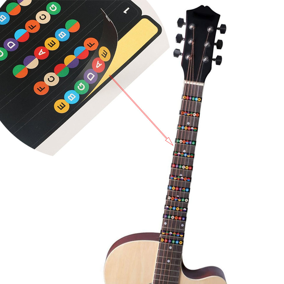 Guitar Fretboard Notes Map Labels Sticker Fingerboard Fret Decals for 6 String Acoustic Electric Guitarra top quality