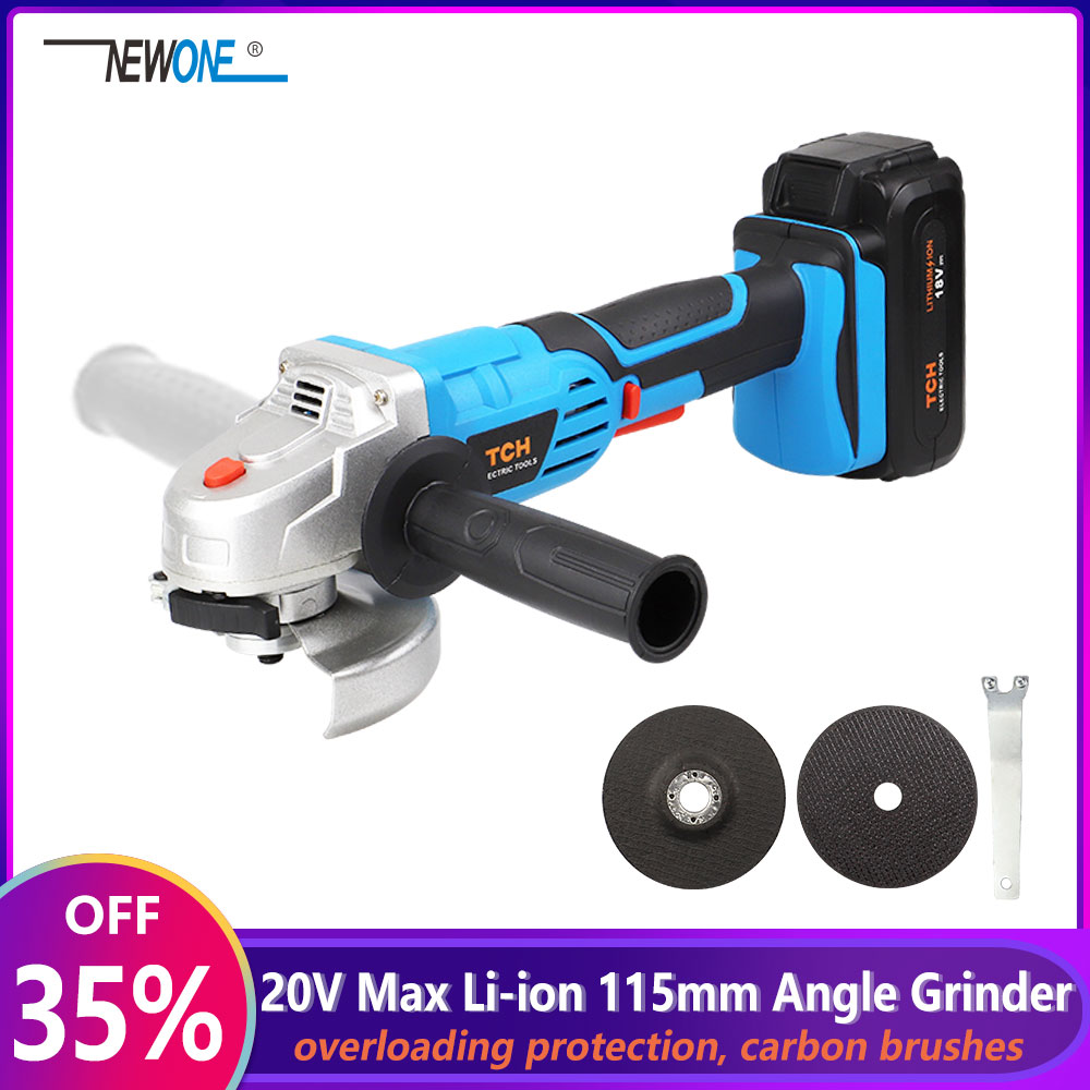20V Lithium Ion 4000mAh Electric Angle Grinder with Paddle Switch Cordless Grinding and Polishing Power Tool M14 Spindle Thread|Grinders| |  - title=