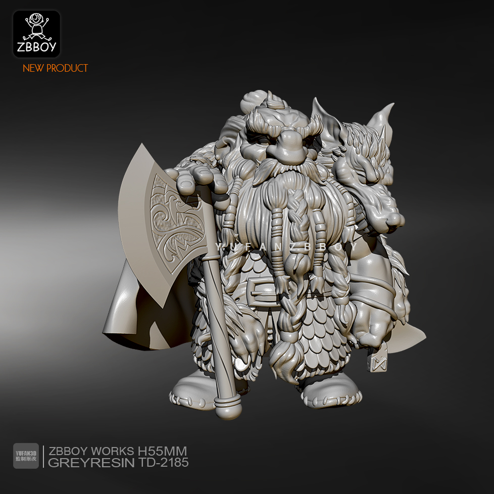 55mm Resin Figure KitsDwarf Axeman Model Self-assembled TD-2185