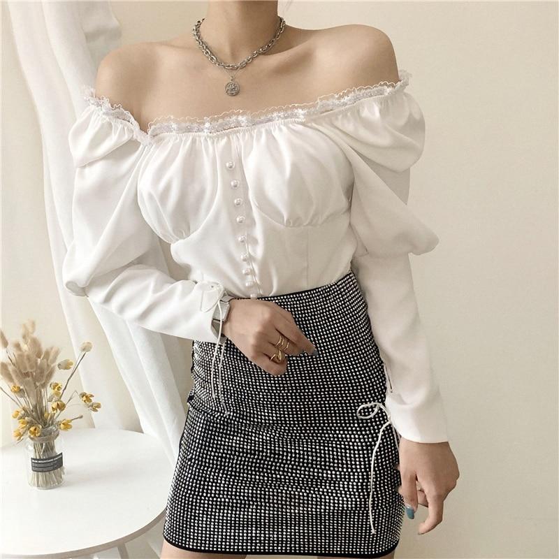 Купить женские белые черные блузки осенние новые французские сексуальные