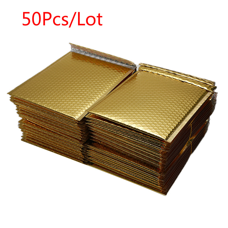 50 PCS/Lot Gold Plating Paper Bubble Envelopes Bags Different Specifications Mailers Padded Shipping Envelope Bubble Mailing Bag