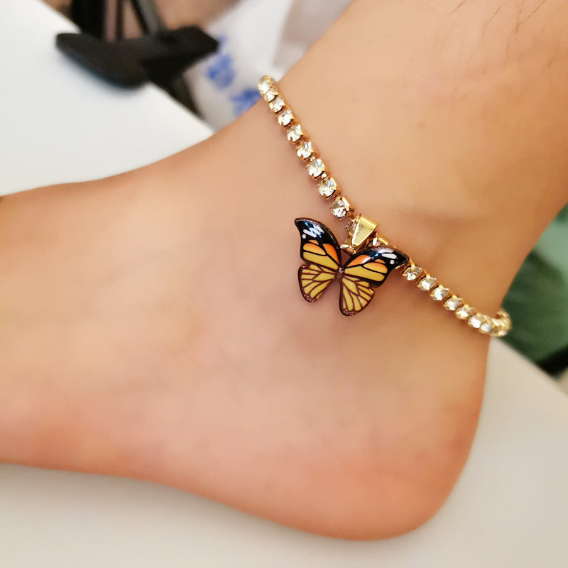 Rhinestone Butterfly Ankle Bracelet For Women Girl Gold Silver Color Tennis Chain Female Male Anklet Foot Fashion Anklet Jewelry