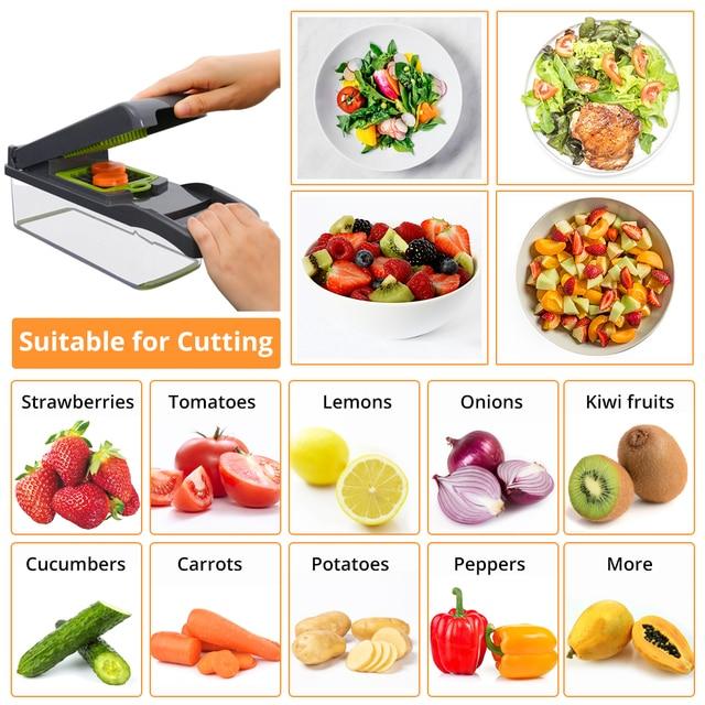 DEKO Vegetable Mandoline Cutter Fruit Slicer Multifunctional Potato Peeler Carrot Grater Kitchen Accessories with Drain Basket 3