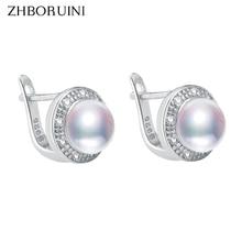 ZHBORUINI, новинка, серьги с жемчугом, 925 пробы, серебряные ювелирные изделия, винтажный стиль, натуральный пресноводный жемчуг, серьги-гвоздики для женщин, подарок