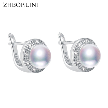 ZHBORUINI 2019 New Pearl Earrings 925 Sterling Silver Jewelry Vintage Style Natural Freshwater Stud Earring For Women Gift
