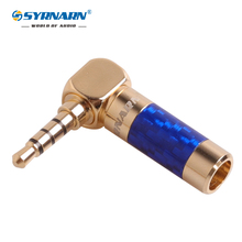 1pcs Carbon Fiber Earphone Jack 3.5mm 4pole Right angle Male Plug Gold Plated Wire Solder Connector for Earphone DIY 6mm cable 50pcs gold plated 3 5mm jack stereo audio mini jack plug right angle or straight connector carbon fiber diameter 6mm