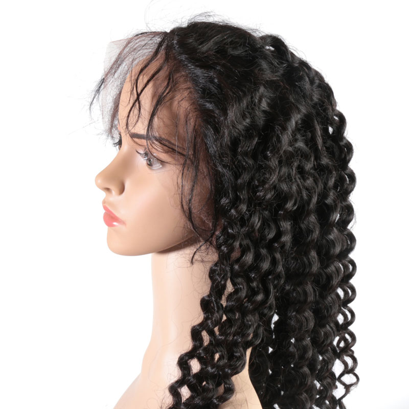"""Ali Queen 13x6 Lace Front Wig Natural Color 8 26 High Ratio 8A Brazilian Deep Wave Ali Queen 13x6 Lace Front Wig Natural Color 8""""-26"""" High Ratio 8A Brazilian Deep Wave Curly Remy Human Hair Wigs For Women"""