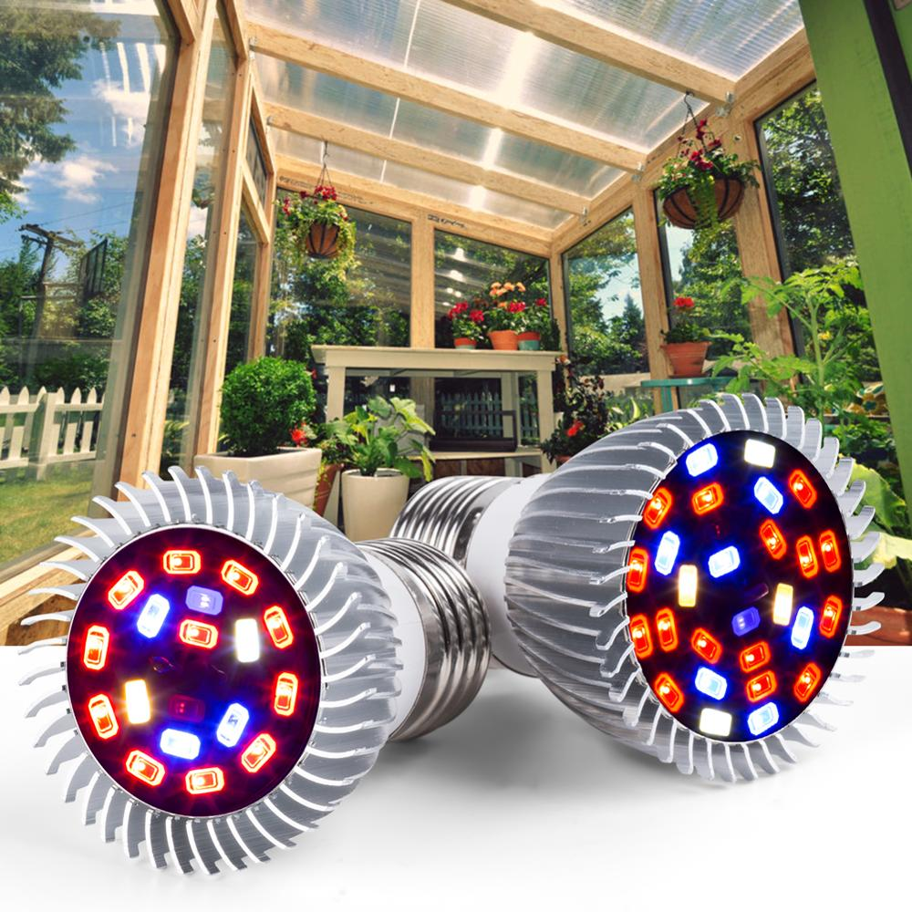 E27 Grow Light 18W 28W AC85-265V E14 Phyto-Lamp Red+Blue+White+UV+IR Full Spectrum Fitolampy For Flowers Seedling Cultivation