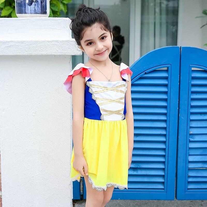 New Style KID'S Swimwear Girls Cute Cartoon Snow White Princess Baby Girls Princess Skirt One-piece CHILDREN'S Swimsuit